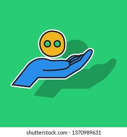 sticker unusual look web icon of modern social network .