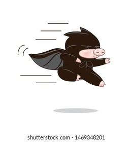 sticker vector icon of a funny batman pig in a black mask cloak in flight, karate isolated on white eps 10 humor