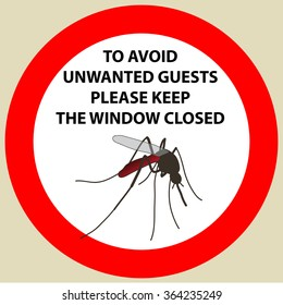Sticker with Warning sign insect icon mosquito. Mosquito  Vector illustration