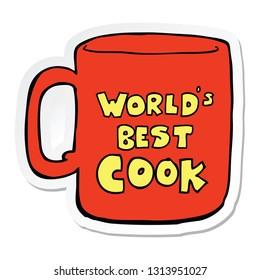 sticker of a worlds best cook mug
