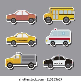 stickers cars over gray background. vector illustration