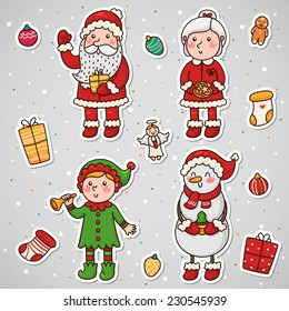 Stickers with Christmas and New year characters, set, vector.