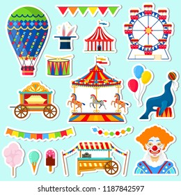 Stickers of circus and amusement elements in flat style on blue background