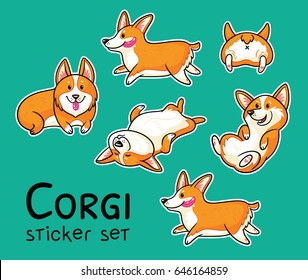 Stickers collection of cute cartoon dogs breed Welsh Corgi Pembroke on green background. Vector illustration