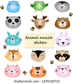 Stickers with cute animal muzzles. Wild animals portrait set with flat design. Vector illustration