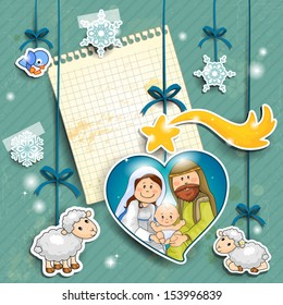 Stickers depicting the characters of the nativity with the piece of paper where you can insert your own text-transparency blending effects and gradient mesh-EPS 10