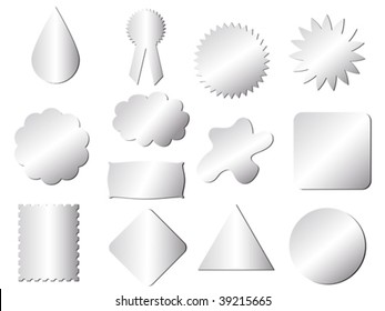 stickers different shape silver texture vector illustration