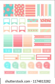 Stickers for Digital Planner. Vector Set of printable stickers for planner. Ribbons, quotes, arrows and other.