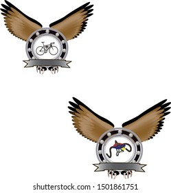stickers with eagle wings and bicycle