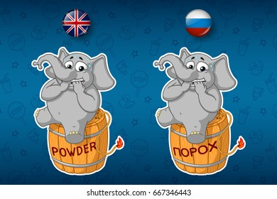 Stickers elephant. Nervous, sitting on a powder keg. Lit the wick. Big set  in English and Russian languages. Vector, cartoon