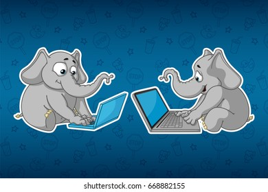 Stickers elephants. Sits at the computer. Work on the Internet. Communication in the network. Big set of stickers. Vector, cartoon