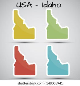 stickers in form of Idaho state, USA