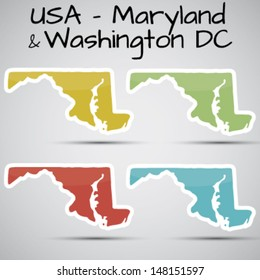 stickers in form of Maryland state and washington dc