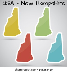 stickers in form of New Hampshire state, USA