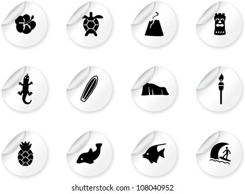 Stickers with Hawaii icons