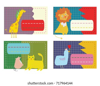 Stickers for the kids with animals, funny design. Vector graphic illustration
