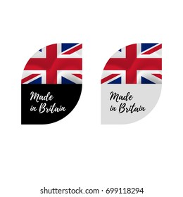 Stickers Made in Great Britain. Waving flag. isolated on white background. Vector illustration.
