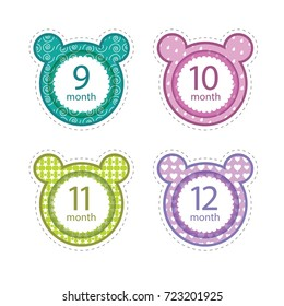 Stickers with the months of the birth of the baby