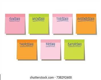 Stickers multicolored on white background, Sunday, Monday, Tuesday, Wednesday, Thursday, Friday, Saturday, reminder, day, week, illustration, vector