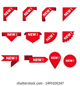 Stickers for New Arrival shop product tags, new labels or sale posters and banners vector sticker icons templates