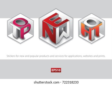 Stickers for new and popular products and services for applications, websites and prints.