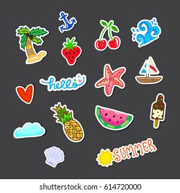 Stickers pack on gray background