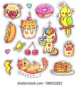 Stickers set in 80s-90s pop art comic style. Patch badges and pins with cartoon animals, sweet and fast food. Vector crazy doodles with cute unicorn, pug's head, cupcake cat etc. Part 15