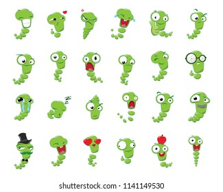 Stickers set from the emotions of worms