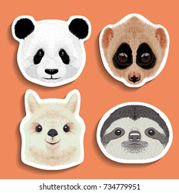 stickers set  panda slow loris  alpaca