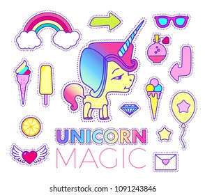 Stickers Set with Unicorn, Rainbow, Star, Comet, Flying Heart, Ice Cream, Cloud, Sun Glasses, Camera, Orange, Arroe, Letter and Philter. Patch Badges Collection. Vector illustration
