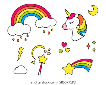 Stickers set with unicorn, rainbow, star, cloud, magic wand  for girls. Cool decoration  interior elements isolated on white. Vector comic cartoon 80s-90s style. Cute fashion patch badges, pins
