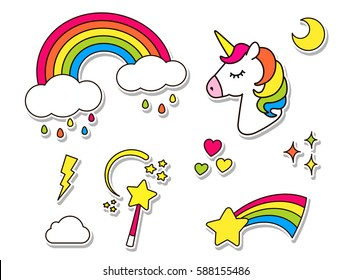 Stickers set with unicorn, rainbow, star, cloud, magic wand  for girls. Cool decoration elements isolated on white. Vector comic cartoon 80s 90s style. Cute fashion patch badges, pins, textile