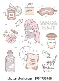 Stickers set. Vector illustration, outline drawing. Hairpins, salt and bath bomb, aroma candle, lotion, matcha. Lettering no drama please. Portrait of a girl with a face mask, beauty rituals, home spa