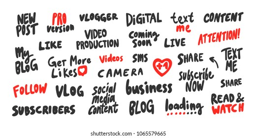 Stickers set for video media content. Vector hand drawn illustration design. Bubble pop art. Good for video bloggind, t shirt print, blog cover, vlog design, internet banner, business post marketing.
