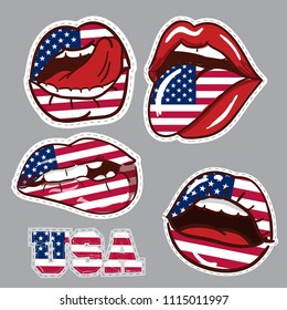 Stickers in the shape of the lips with the American flag. Stickers for stickers, textiles, badges, fabrics, posters, banners, advertising, united states, web, trinkets.