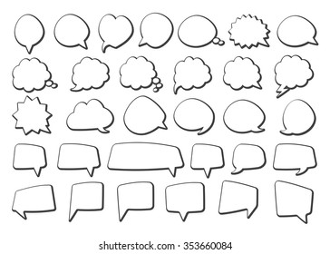 Stickers of speech bubbles  (black set)