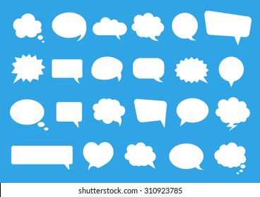 Stickers of speech bubbles vector set