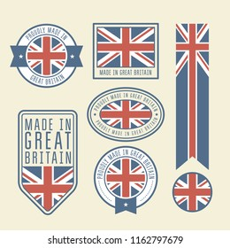 Stickers, tags and labels with Great Britain flag - badges
