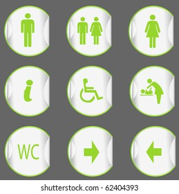 stickers with toilet signs. vector illustration