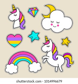 Stickers with a unicorn, stars, clouds, heart, unicorn head, letter, rainbow. Cute decoration items. Vector comics of the 80s of the 90s. Cute set of fashionable patches, pins, textiles