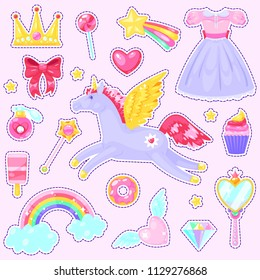 Stickers with unicorn,hearts,dress,candy, clouds, rainbow and other elements on pink background.