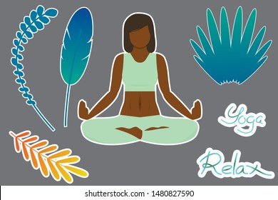 """Stickers with a woman with dark skin who is meditating, blue and orange leaves and feather and calligraphic lettering of inscription of the words """"yoga"""" and """"relaxation"""""""
