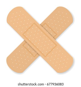 Sticking plaster on a white background.