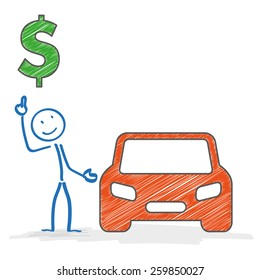 Stickman with car on the white background. Eps 10 vector file.