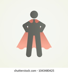 Stickman character figure with superhero pose and cape. Vector illustration for strength, leadership, success and willpower
