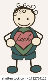 Stick-man discovers luck in his heart