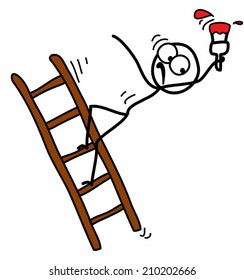 Stickman falling from ladder