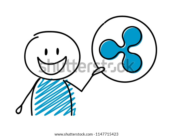 Stickman with hand drawn cryptocurrency icon - ripple. Vector.
