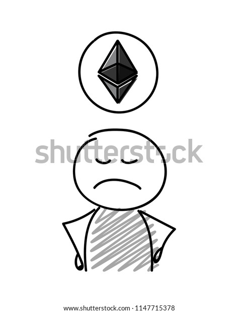 Stickman holding etherum icon. Vector.