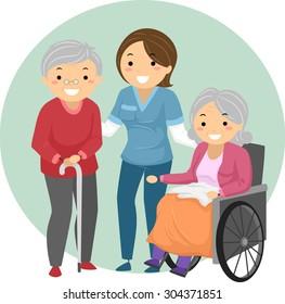 Stickman Illustration of a Caregiver Assisting Elderly Patients